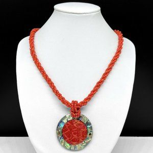 Red Coral Seed Beaded Necklace With Abalone Shell